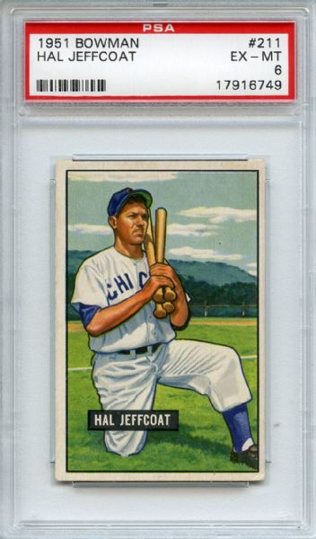 1951 Bowman 211 Hall Jeffcoat PSA EX-MT 6