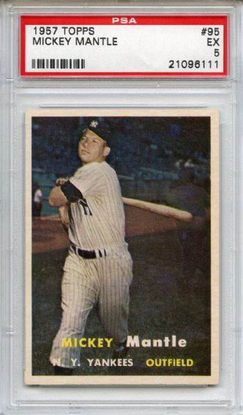 1957 Topps 95 Mickey Mantle PSA EX 5