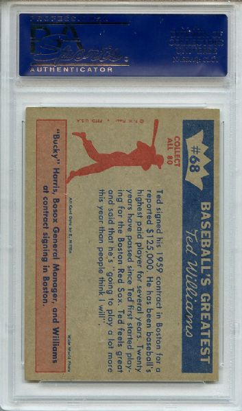 1959 Fleer 68 Ted Williams Signs for 1959 PSA NM-MT 8