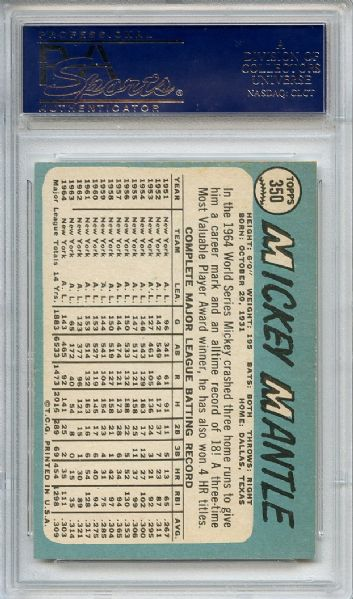 1965 Topps 350 Mickey Mantle PSA NM 7