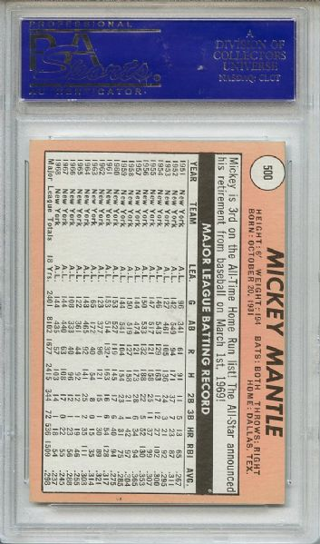 1969 Topps 500 Mickey Mantle White Letters PSA EX-MT 6