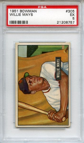 1951 Bowman 305 Willie Mays Rookie PSA EX 5