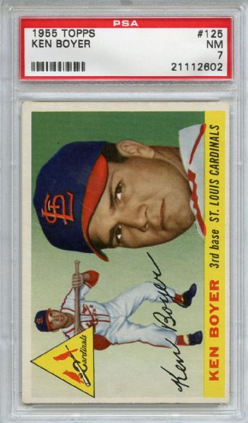 1955 Topps 125 Ken Boyer Rookie PSA NM 7