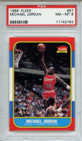 1986 Fleer 57 Michael Jordan RC PSA NM-MT 8