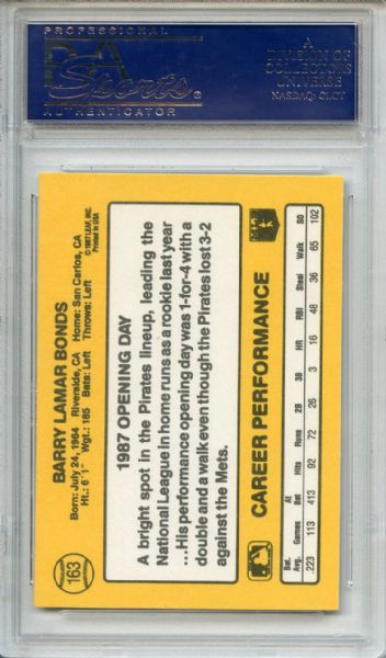 1987 Donruss Opening Day Barry Bonds RC ERROR Johnny Ray Dmitri Young Collection PSA GEM MT 10