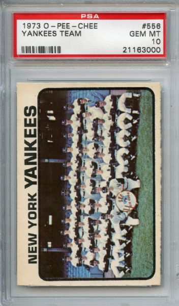 1973 O-Pee-Chee 556 Yankees Team Card PSA GEM MT 10