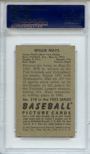 1952 Bowman 218 Willie Mays PSA NM+ 7.5
