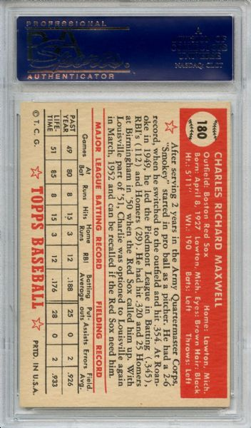 1952 Topps 180 Charley Maxwell PSA NM-MT+ 8.5