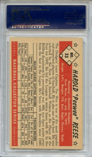 1953 Bowman Color 33 Pee Wee Reese PSA NM-MT 8