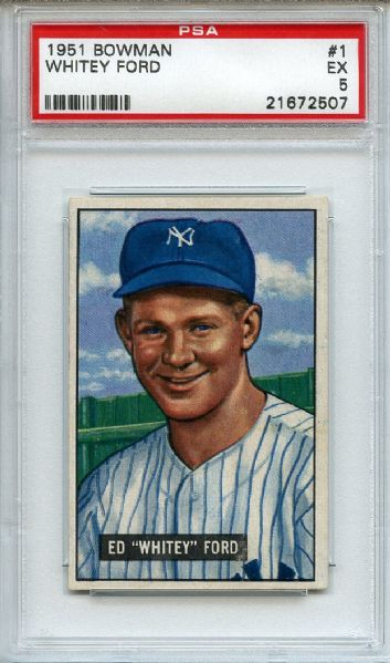 1951 Bowman 1 Whitey Ford RC PSA EX 5
