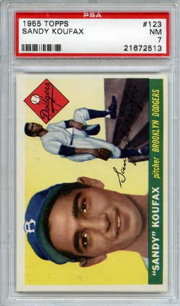 1955 Topps 123 Sandy Koufax RC PSA NM 7