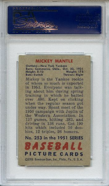 1951 Bowman 253 Mickey Mantle RC PSA VG-EX+ 4.5