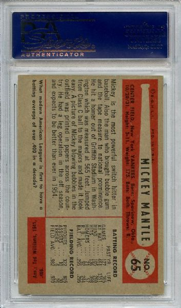 1954 Bowman 65 Mickey Mantle PSA NM 7