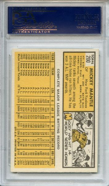 1963 Topps 200 Mickey Mantle PSA NM-MT 8