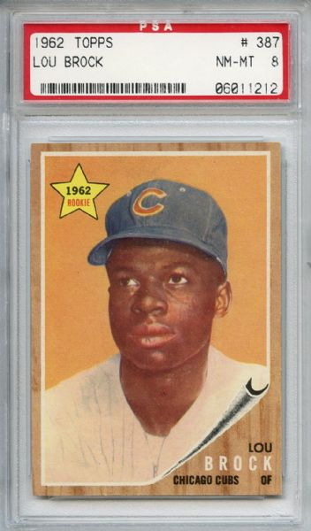 1962 Topps 387 Lou Brock RC PSA NM-MT 8