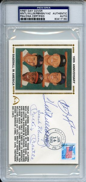 Mantle Williams Yastrzemski Robinson Signed Triple Crown First Day Cover PSA/DNA