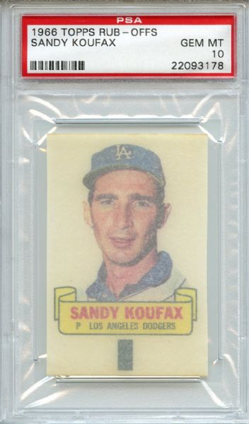 1966 Topps Rub-Offs Sandy Koufax PSA GEM MT 10