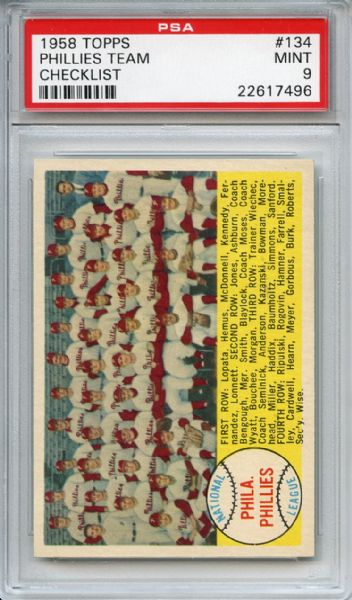 1958 Topps 134 Philadelphia Phillies Team Checklist PSA MINT 9