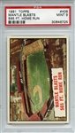 1961 Topps 406 Mickey Mantle Blasts 565 Ft Home Run PSA MINT 9