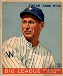 1933 Goudey 134 Sam Rice RC VG #D359464