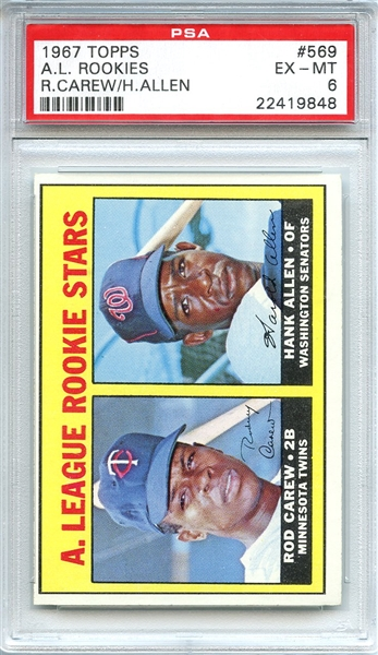 1967 Topps 569 Rod Carew RC PSA EX-MT 6