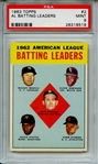 1963 TOPPS 2 AL BATTING LEADERS PSA MINT 9