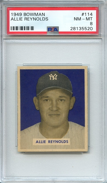 1949 BOWMAN 114 ALLIE REYNOLDS PSA NM-MT 8