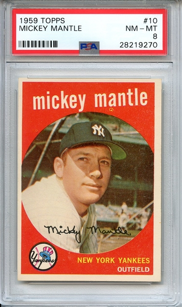1959 TOPPS 10 MICKEY MANTLE PSA NM-MT 8