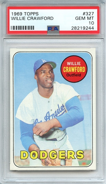 1969 TOPPS 327 WILLIE CRAWFORD PSA GEM MT 10