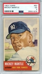 1953 TOPPS 82 MICKEY MANTLE PSA EX 5