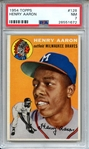 1954 TOPPS 128 HENRY AARON RC PSA NM 7