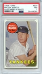 1969 TOPPS 500 MICKEY MANTLE LAST NAME IN WHITE PSA NM 7