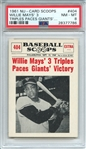1961 NU-CARD SCOOPS 404 WILLIE MAYS 3 TRIPLES PACES GIANTS... PSA NM-MT 8