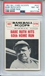 1961 NU-CARD SCOOPS 447 BABE RUTH HITS 60th HOME RUN PSA NM-MT 8
