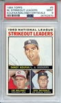 1964 TOPPS 5 NL STRIKEOUT LEADERS KOUFAX/MALONEY/DRYSDALE PSA MINT 9