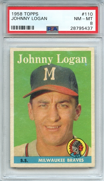 1958 TOPPS 110 JOHNNY LOGAN PSA NM-MT 8