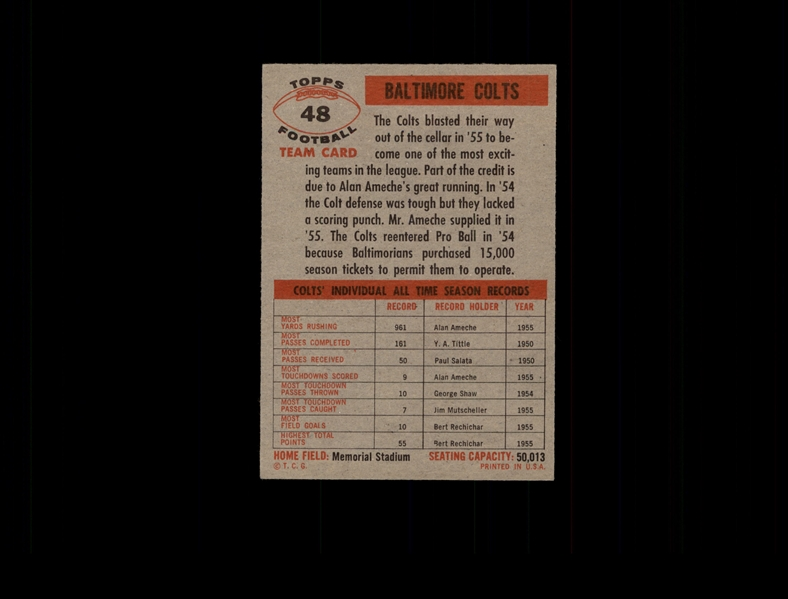 1956 Topps 48 Baltimore Colts EX #D686537