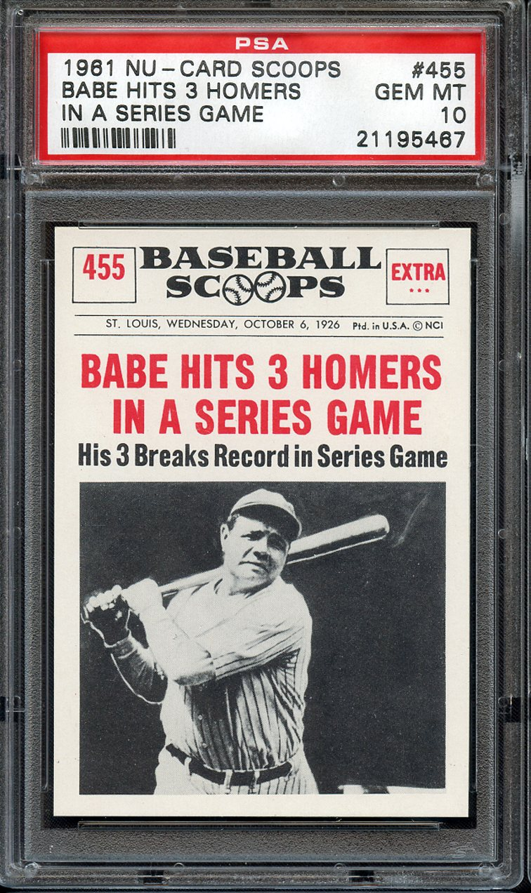 Lot Detail 1961 Nu Card Scoops 455 Babe Hits 3 Homers In A