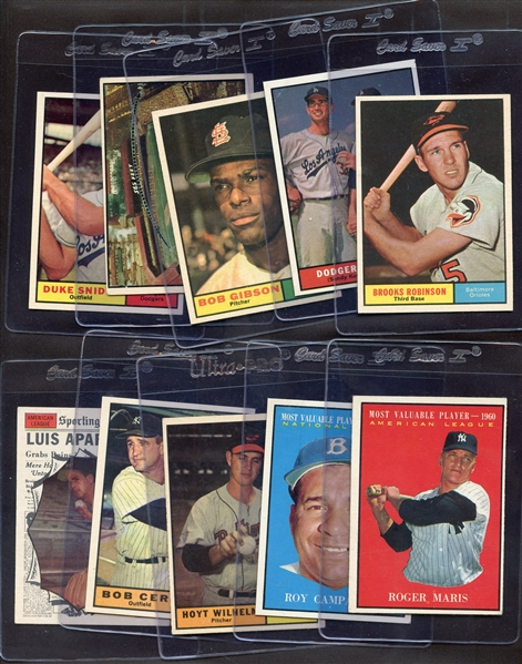 1961 TOPPS BASEBALL PARTIAL SET 433/587 - NICE EX-MT OVERALL