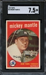 1959 TOPPS 10 MICKEY MANTLE SGC NM+ 7.5