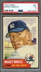 1953 TOPPS 82 MICKEY MANTLE PSA VG 3