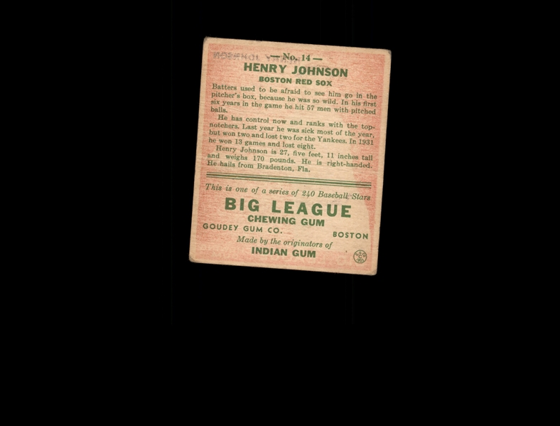 1933 Goudey 14 Henry Johnson RC POOR #D816949