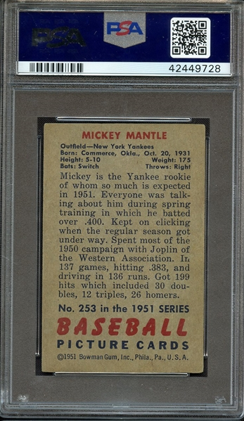1951 BOWMAN 253 MICKEY MANTLE RC PSA AUTHENTIC ALTERED