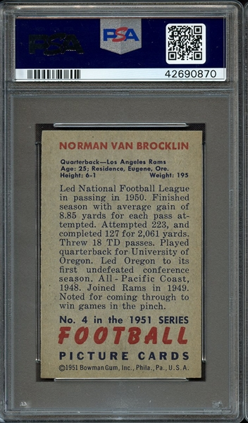 1951 BOWMAN 4 NORM VAN BROCKLIN RC PSA NM-MT 8