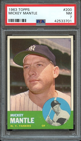 1963 TOPPS 200 MICKEY MANTLE PSA NM 7