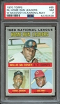 1970 TOPPS 65 NL HOME RUN LEADERS W.McCOVEY/H.AARON/L.MAY PSA NM 7