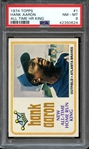 1974 TOPPS 1 HANK AARON ALL TIME HR KING PSA NM-MT 8