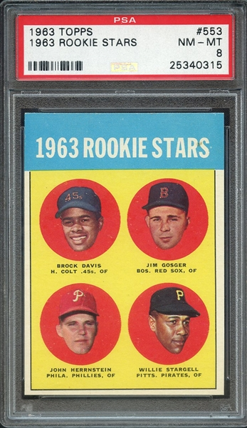 1963 TOPPS WILLIE STARGELL RC PSA NM-MT 8