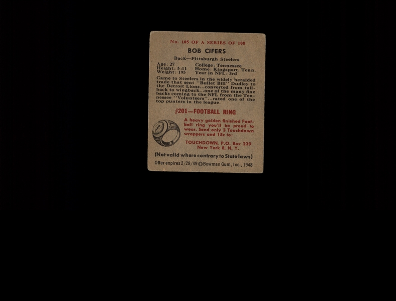 1948 Bowman 105 Bob Cifers SP RC VG #D975107