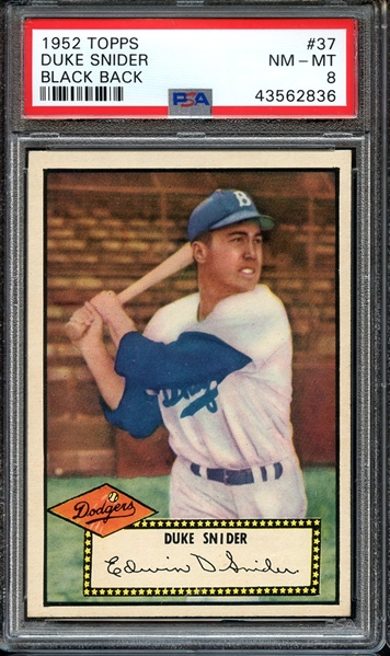 1952 TOPPS 37 DUKE SNIDER BLACK BACK PSA NM-MT 8